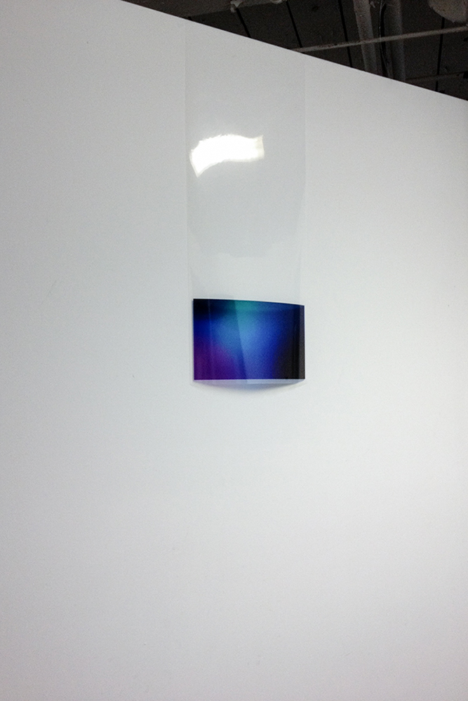 Screen skeuomorph , 2015, Gradient print on acetate mimicking a screen, 12'' x 32''