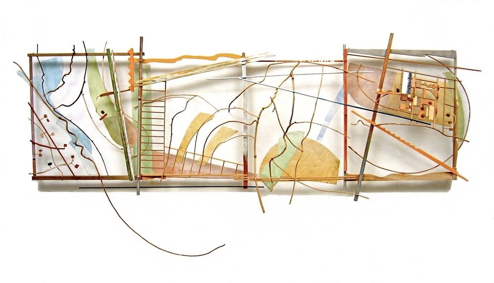"Landlines,  2007, Painted wood and vine, paper, Mylar, 120"" x 35"" x 8"""