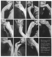 My Grandmother's Gestures , 1972  Document in photos and text of performance in which the artist traces her own gestures to her grandmother.