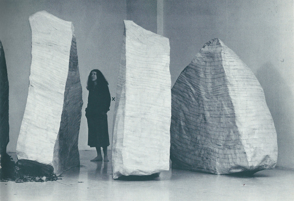 Rachel bas-Cohain with  Sel'ah,  1978  Installation at A.I.R.    *From  Rachel bas-Cohain 1937-1982 Selected Works