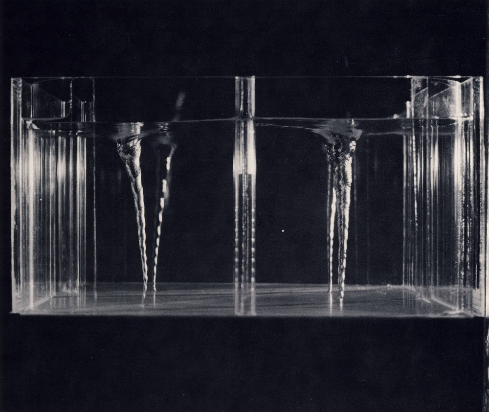 Study No. 1 for Grand Vortices , 1971  Tank 24x24x12  Plexiglass, water and pump    *From  Rachel bas-Cohain 1937-1982 Selected Works