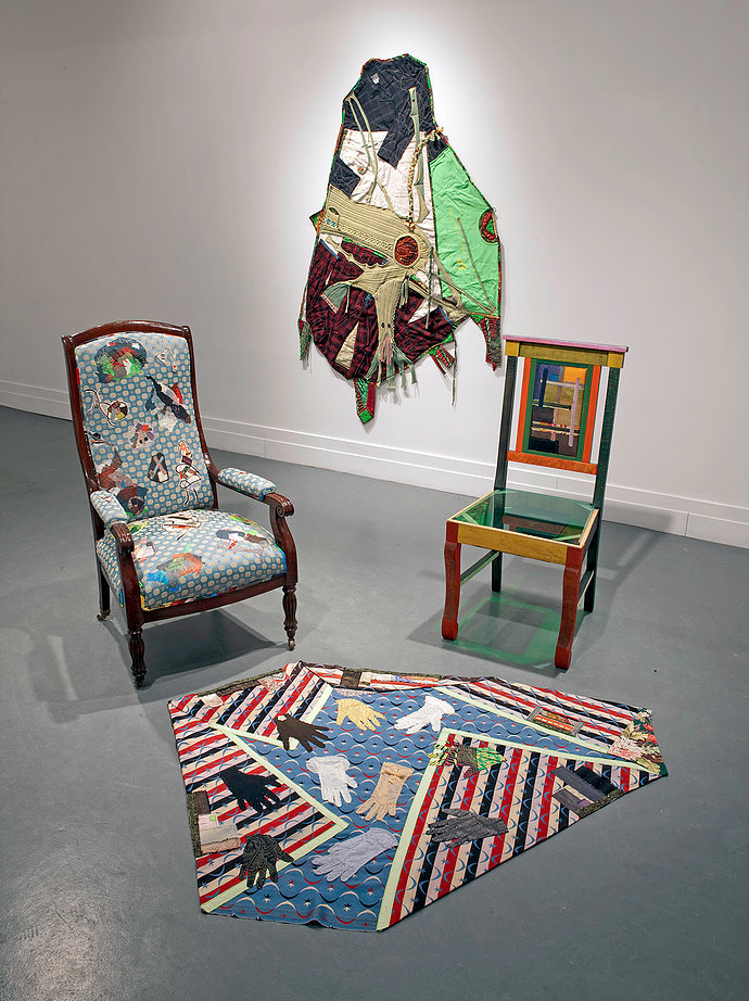 jump-off,  2010  Installation of story rugs, chairs, clothing bundles, digital prints at A.I.R.