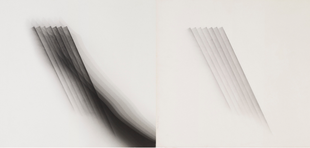 Seven Parallel Diagonal Motions recorded by Graphite bar and Camera.  Silver gelatin print (left), Charcoal stick on paper (right)    *David Hall Fine Art Gallery