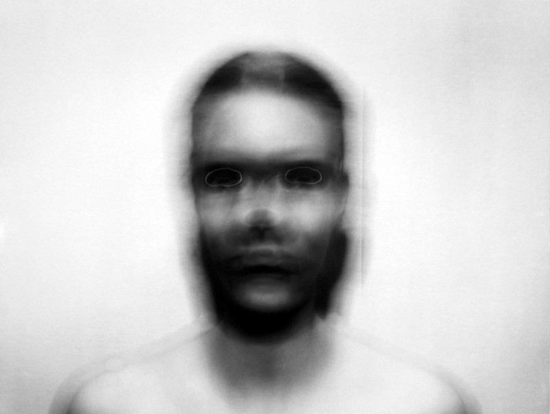 Self-portrait: Horizontal Elliptical Motion , small, 1974  Photograph, Black and White Silver Gelatin Print    *Asheville Art Museum Permanent Collection
