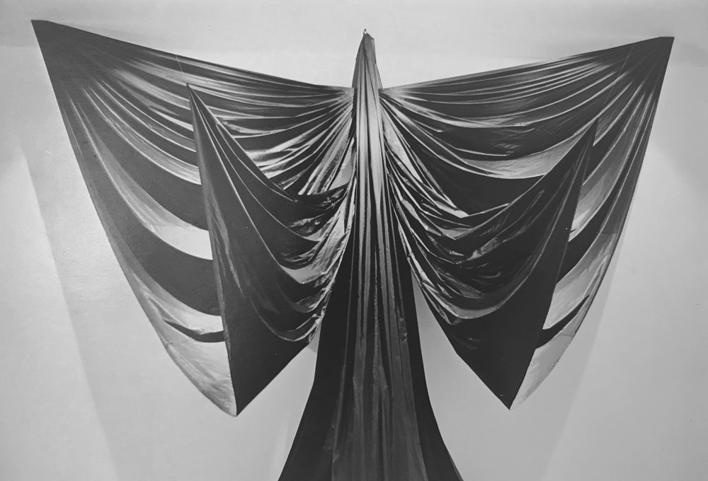 "Hecate , 1972  Nylon fabric, aluminum bars  12""x15""x8"""