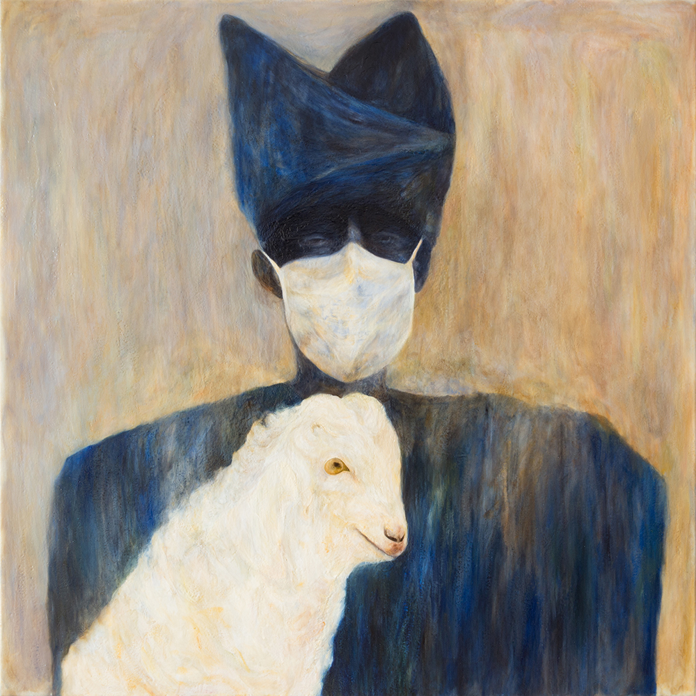 Woman with Goat and Surgical Mask , 2018, Oil and glue on Linen, 40 x 40 in.