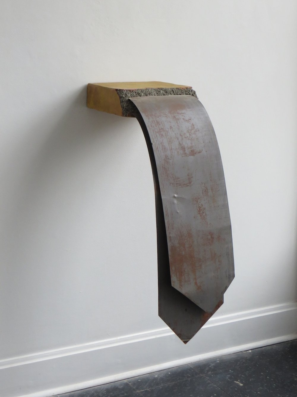 Lingua , 2014, cast concrete, pigments, and reclaimed metal, 31 x 12 x 22 inches