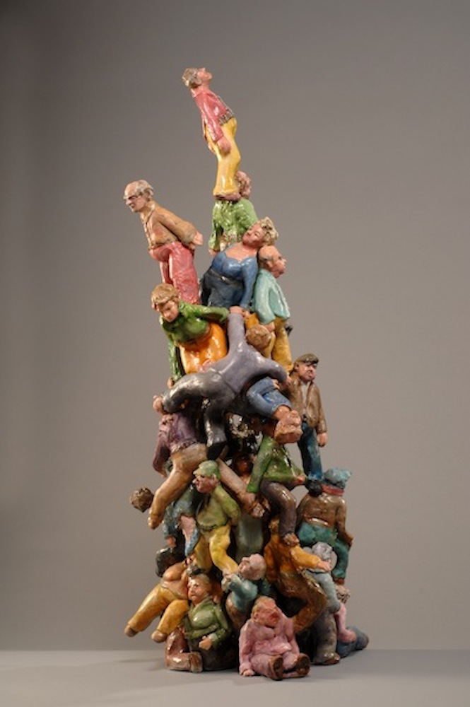 """Baby Boomer Pile Up , 2015  20"""" x 20"""" x 35"""" Stoneware and terra sigillata, oil washes."""