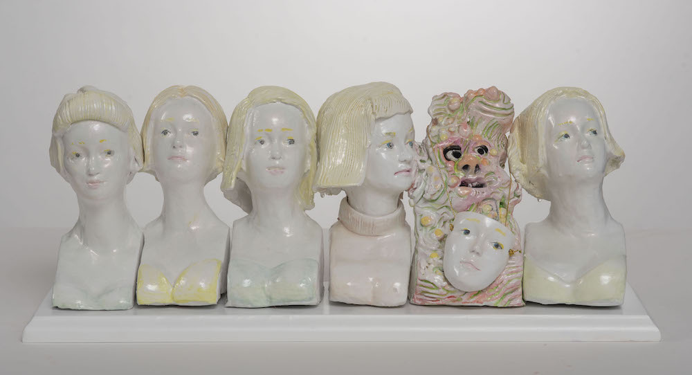 """With the In Girls , 2017  14"""" x 7"""" x 7"""", Stoneware and terra sigillata"""