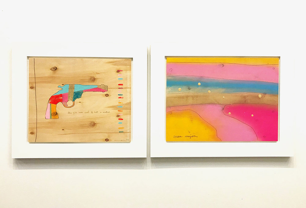 "A Mother & Ursa Major , 2018 Eye shadow, nail polish, lip gloss, graphite, spray paint, varnish on plywood, 16.5"" x 39.5"""