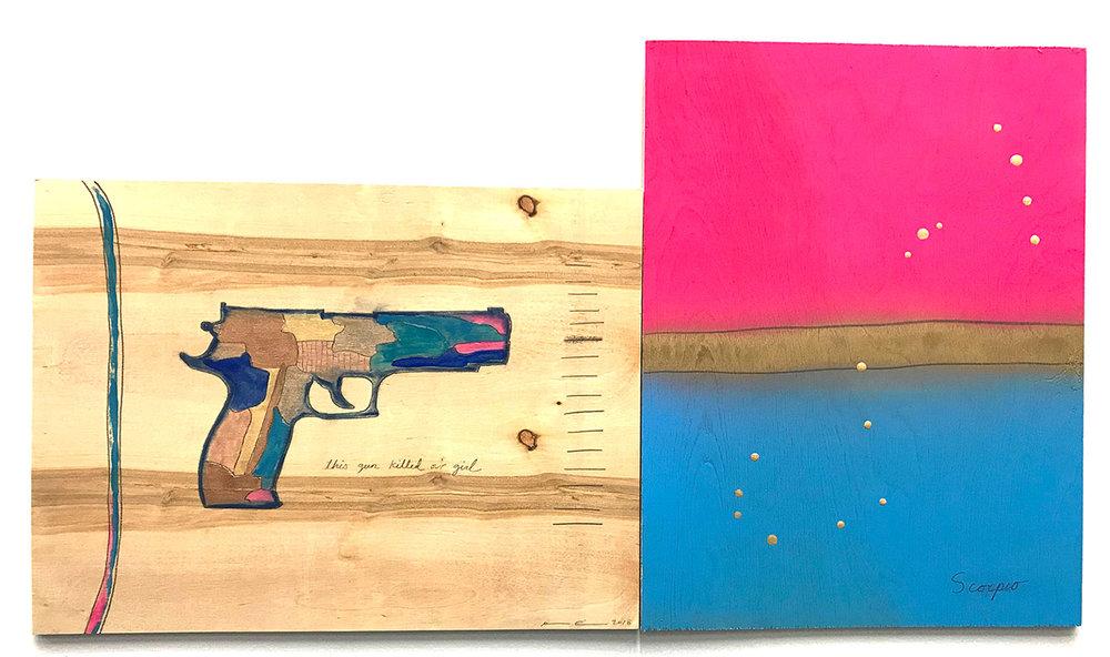 "Our Girl & Scorpio-Detail , 2018 Eye shadow, lip gloss, nail polish, graphite, spray paint, varnish on plywood, 20.5"" x 37"""