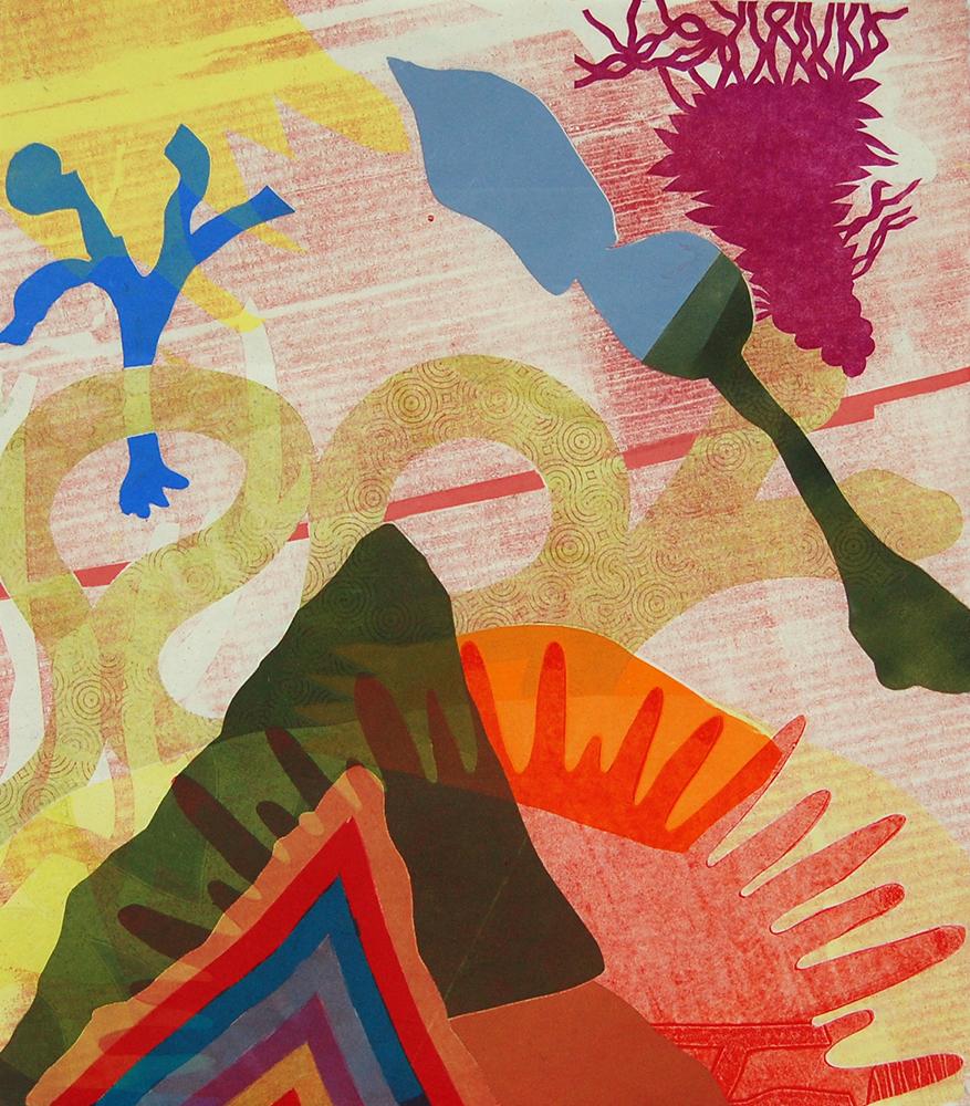 "In collaboration with Yvette Drury Dubinsky  Sausalito , 2018, monoprint, 19 6/8""x17 5/8"""