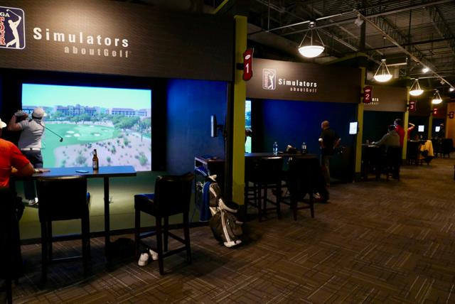 Inside Edge Golf simulators in Eden Prairie feature 9 PGA TOUR simulators, food and drinks.