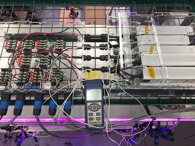 Collecting temperature data for the new vertical rack power system - 2 AC fans are keeping the @meanwell_imenpower supplies cool! @casey.tyler27 #ledlights #verticalgarden #indoorgarden #indoorfarming #ledgrow #ledgrowlights