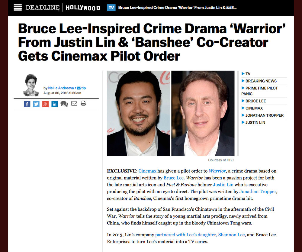 Screenshot of Deadline.com article