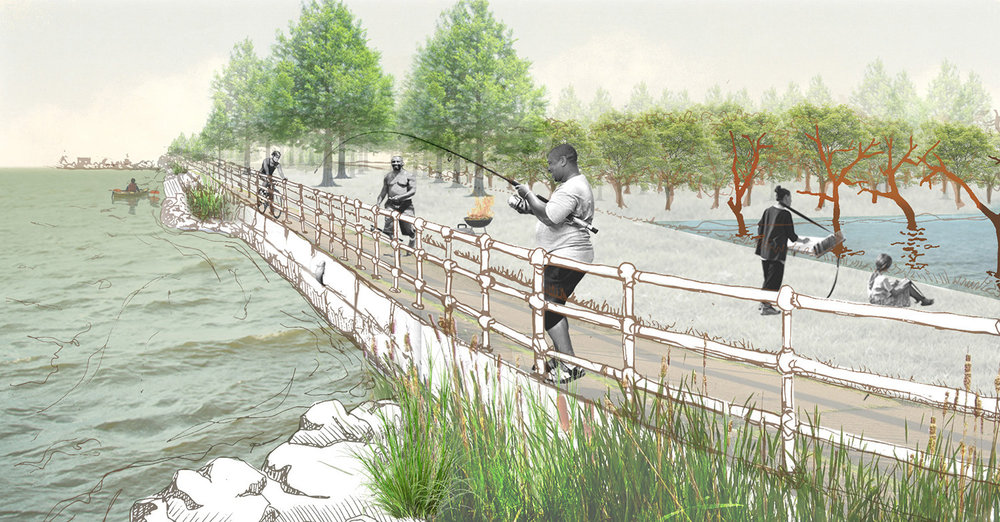 Inviting a multiplicity of users and uses, the memorial's open form embraces existing local fishers, picnickers, joggers and cyclists while adding an additional cultural overlay of memorialization to Hains Point  .