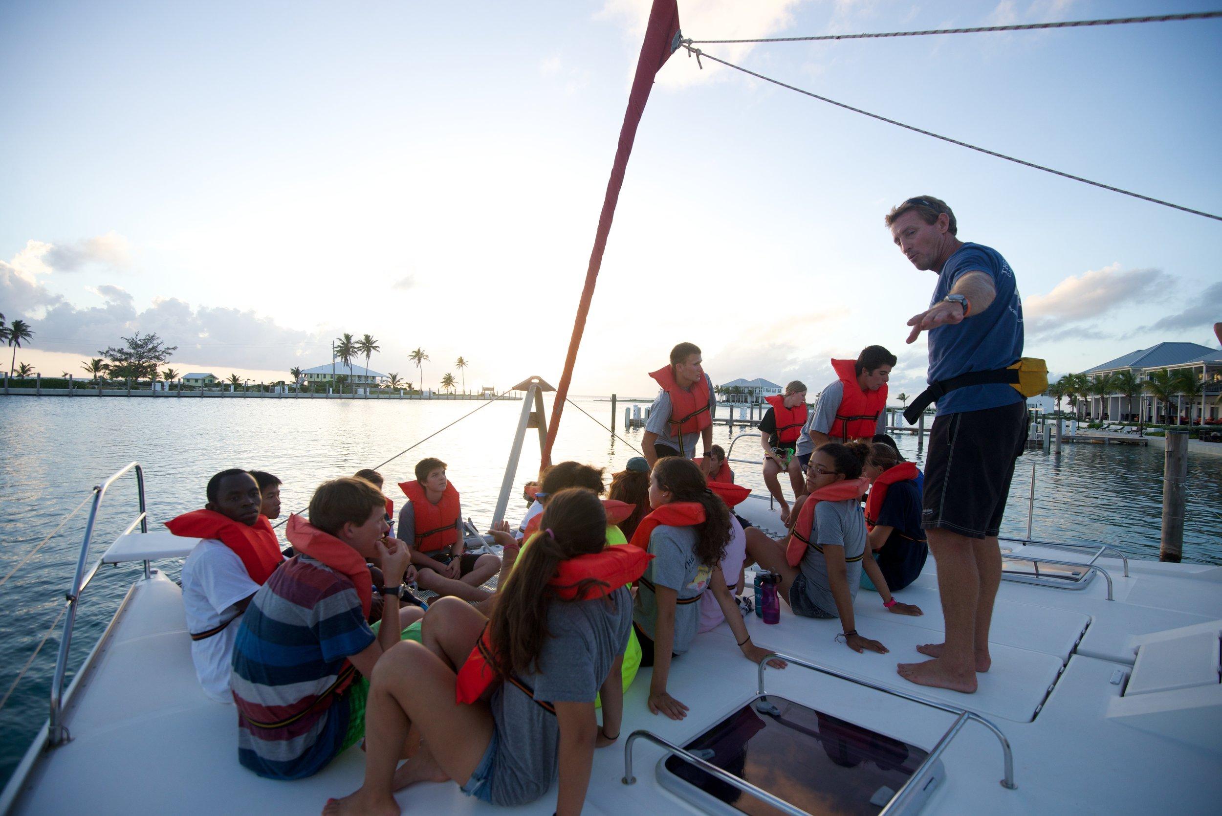 "Captain Maxey and Summer Term students aboard ""Kokomo"""