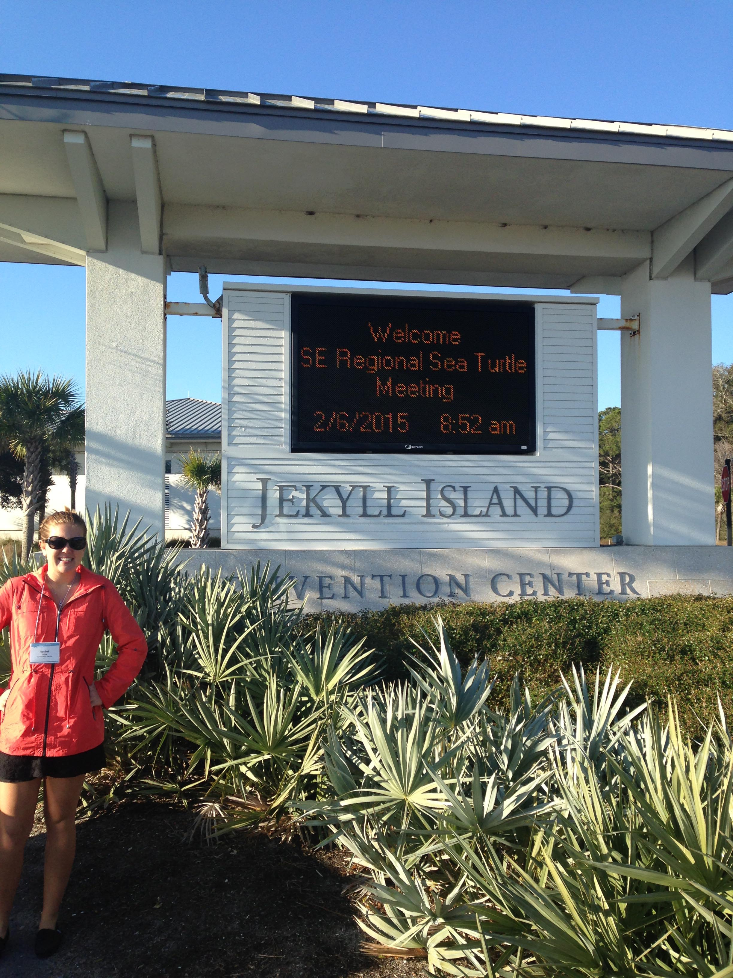 Rachel Miller beside the Jekyll Island Convention Center where the Sea Turtle conference was held.