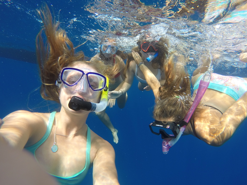 Snorkeling in the deep blue.