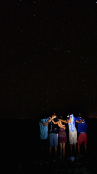 Students looking out over the night sky
