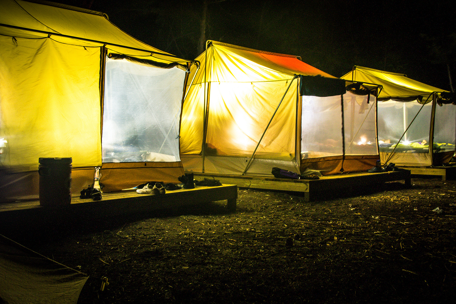 Tents located at base camp on the Island School campus