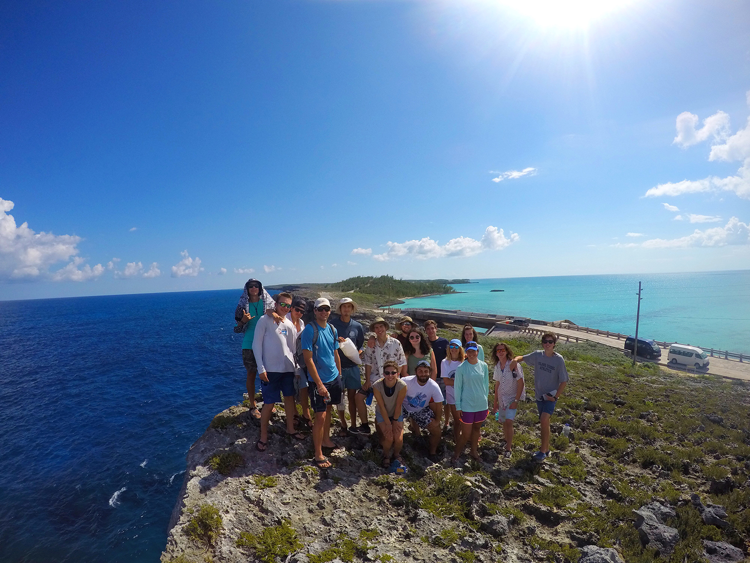 The HIOBS team on Glass Window Bridge in Northern Eleuthera
