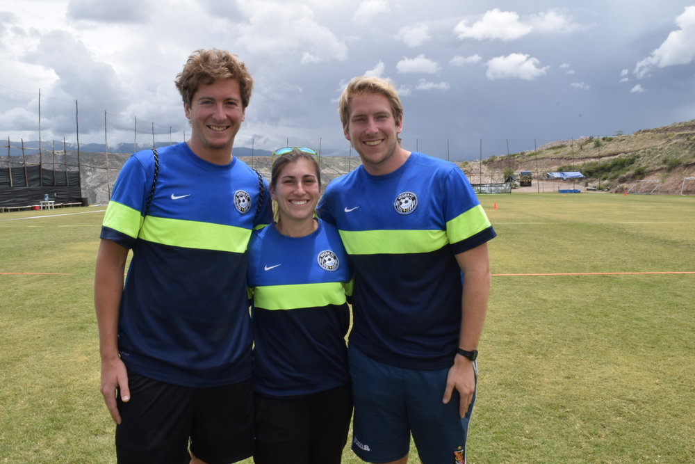 Matt Aryes with the Co-Directors of Woza Soccer, Kate Silverman and Chris Kaimmer, in Peru.