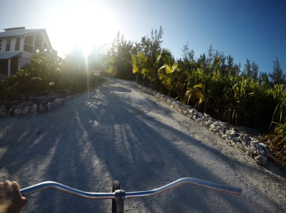 Julia Forman's view from her bike as she heads out to explore Cape Eleuthera!