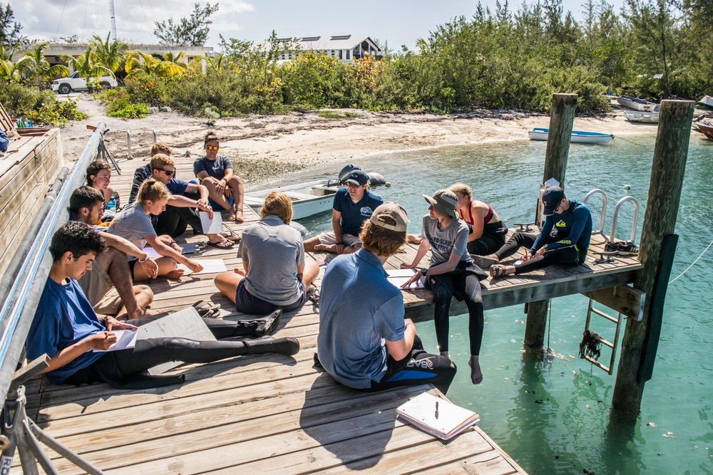 One Marine Ecology class engages in a post-dive discussion on the dock.