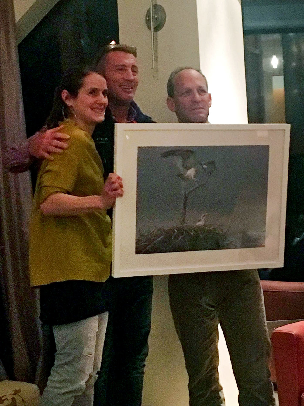 Dave and Di receive  Robert Bateman  Osprey print a symbol of their ongoing commitment to Island School students
