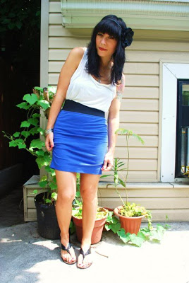 blue sexy tight skirt outfit