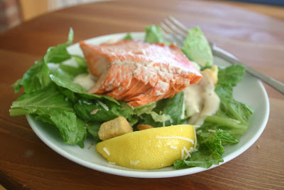 salmon caesar salad food