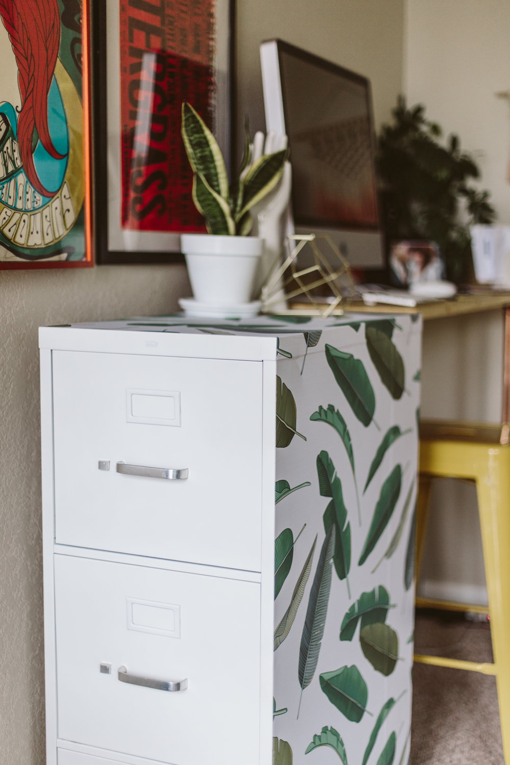 Chic Palm Leaf File Cabinet DIY