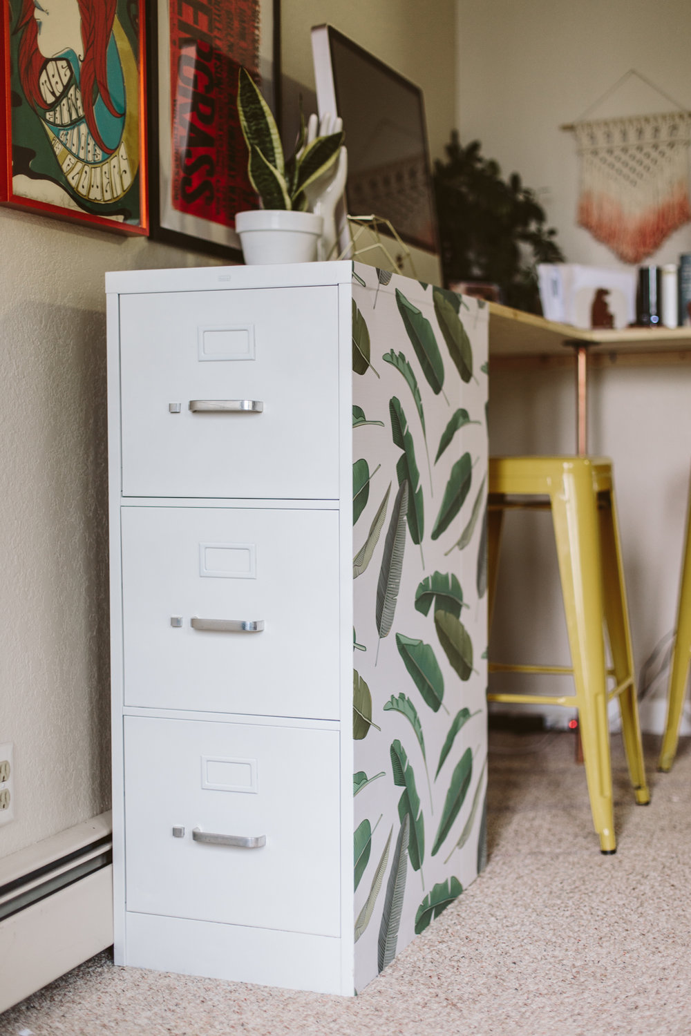 Banana Leaf File Cabinet DIY Makeover