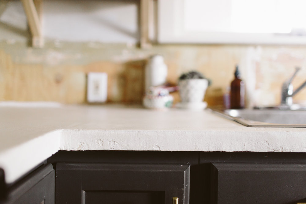 DIY White Concrete Skimcoat Countertops