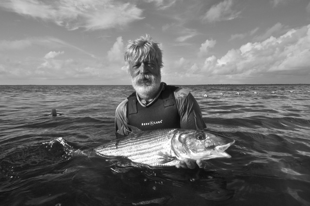 Dave Philipp with bonefish, Grand Bahama tagging trip, CEI
