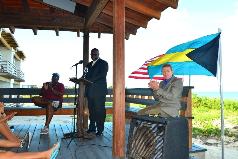 Minister Dorsett and Chris Maxey at Symposium, Cape Eleuthera Institute