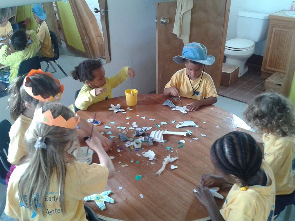 Students at the ELC making plastic art.