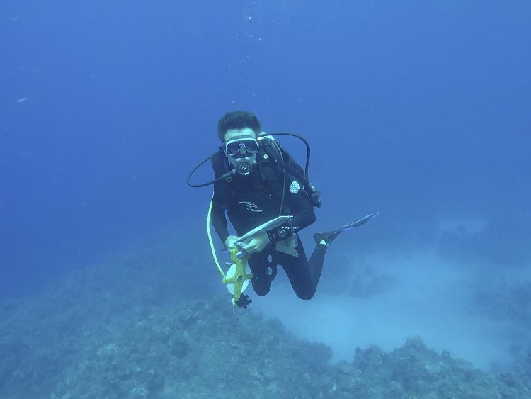 Student Douglas Vetter on a class dive
