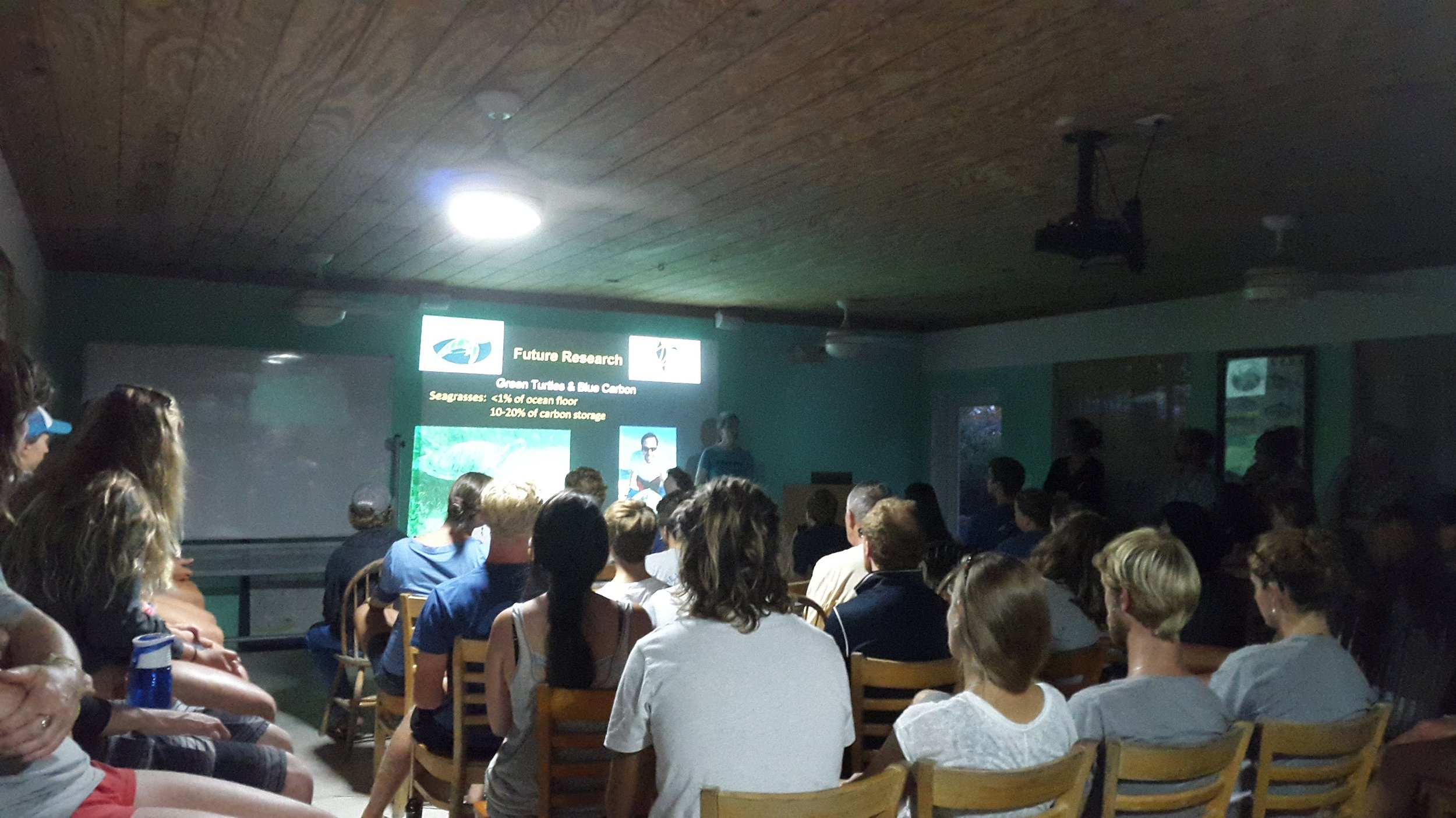 Dr. Karen Bjorndal gives a presentation to Island School students about her work in the Bahamas over the last 40+ years. Photo Credit- Dr. Jocelyn Curtis-Quick
