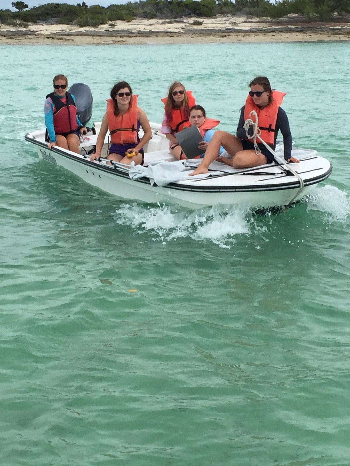 Phoebe Shuylor, Emma Ward, and Rachael Alberts head to the creeks with Rachel and Grace from the sea turtle conservation team to do sea turtle abundance surveys.