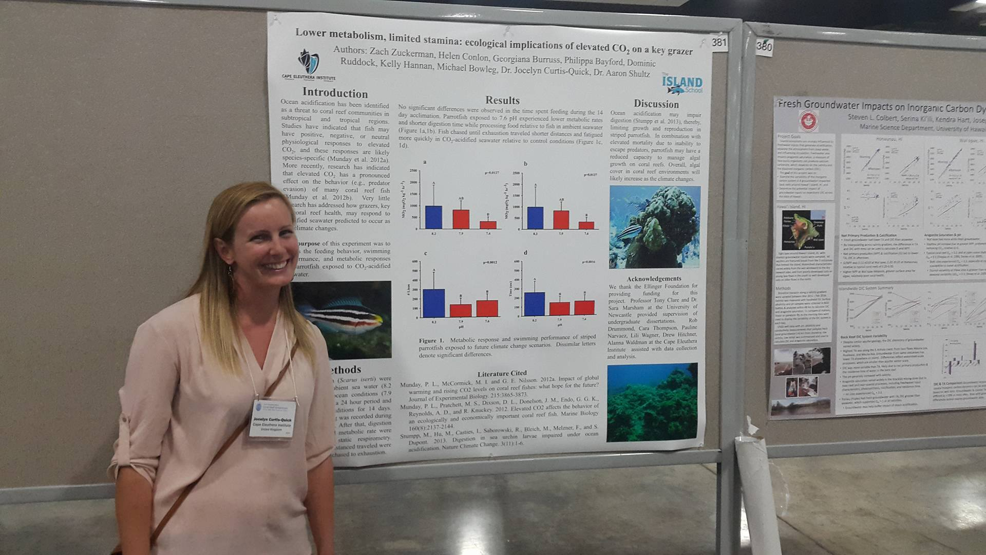 CEI scientists Zach Zuckerman, Dr Aaron Shultz and Dr Jocelyn Curtis-Quick present their parrotfish research