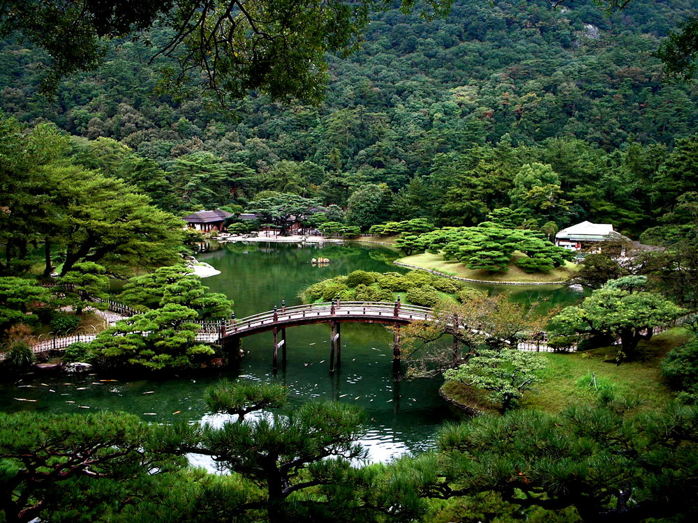 Ritsurin Garden in Takamatsu, Japan.  An example of shokkei garden philosophy.