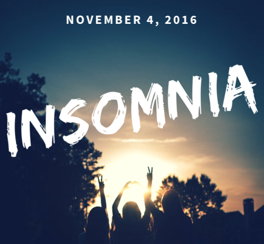 This Friday, November 4th, we will head to Cookeville, TN for Insomnia. Insomnia is an incredible, fun-filled event where we come together with Chi Alpha students from all over the state of Tennessee. There's food, games, worship, a powerful message and prayer time, and it's just altogether an incredible experience.  You won't want to miss this awesome event! The cost is $10 a student. We will meet at 3:30pm at the clock tower by the UC to roll out.