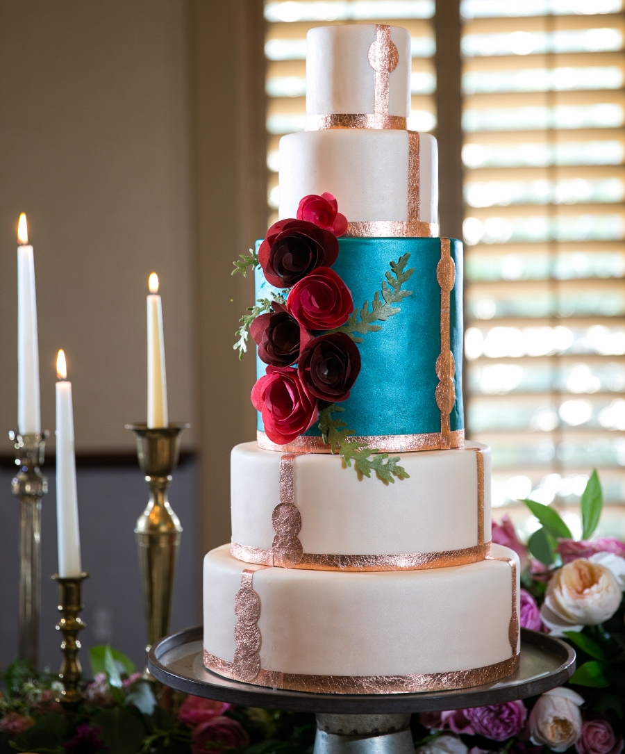 Metallic Accent Wedding Cake by  Mode Bakehouse