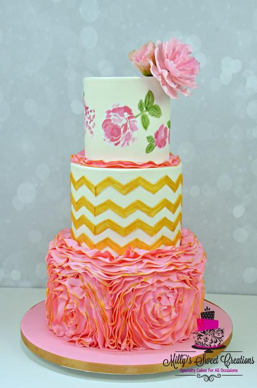 Chevron Wedding Cake by  Milly's Sweet Creations