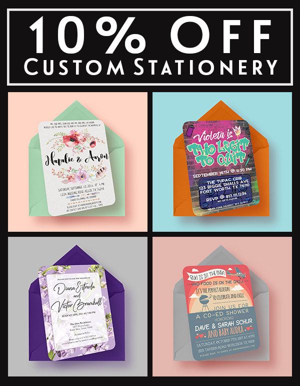 10% Off Custom Stationery Designs