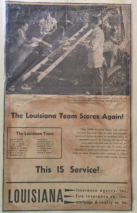 Post Hurricane Audrey Ad, 1957