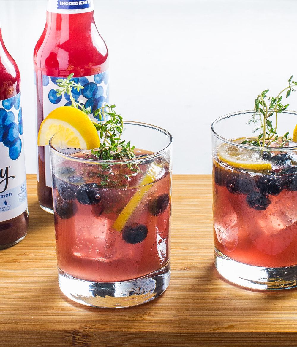 Blueberry Lemon Vodka Fizz with Thyme