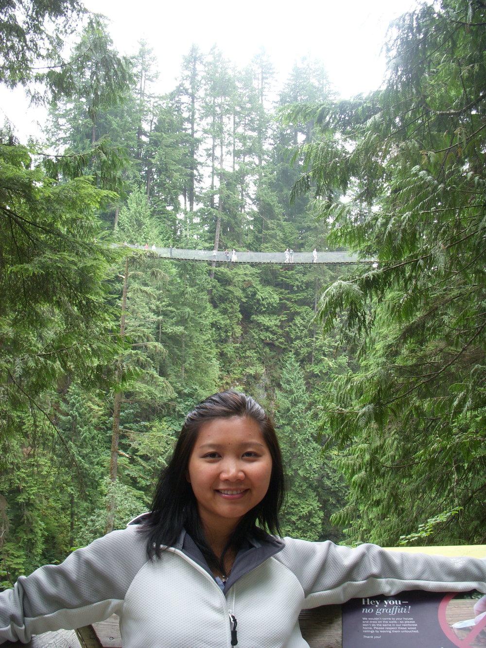 Mai beneath the bridge.